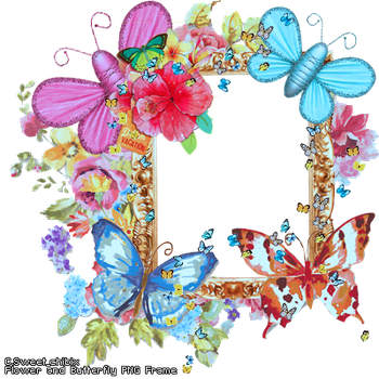 Flower and Butterfly PNG Frame by Sweet-chibix