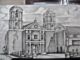 Church after Earthquake PEN DRAWING by ffdiaries958