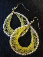 Yellow Thread Earrings by hintingthoughts