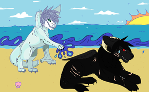 collab - day at the beach !! by canine-rein