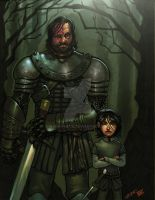 Hound and Arya Stark COLORED by MARR-PHEOS