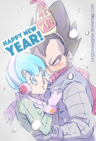 Dbz: Bulma and Vegeta - Happy New Year 2016! by longlovevegeta