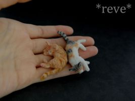 Miniature Cats Sleeping * Handmade Sculpture * by ReveMiniatures