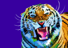 Roaring tiger - vector - colours version by elviraNL