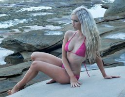 Kahli - pink bikini on rock 1 by wildplaces