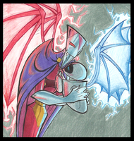 NOSxEVE.2: Red and blue wings by PurpleRAGE9205