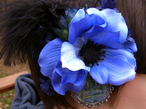 Blue Monet Floral Hairpiece by SakuraTease