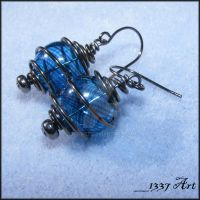 Blue Glass Cage Earrings by 1337-Art