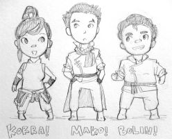 korra! mako! bolin! by rockinrobin