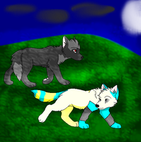 shadow and zappy as wolfs by BloodedFox