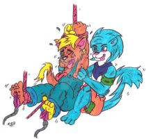 Tickle Torture: Mordecai and Jericho by KnightRayjack