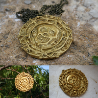 Aztec Gold Medaillon -- Handmade (Polymer Clay) by AnOtherSunrise