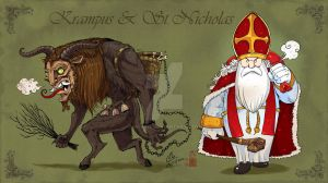 Krampus and St Nicholas by In-Sine