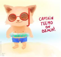 Teemo on the beach by PurpleLemon13