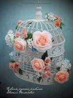 My handmade clay flowers on a cage. by V-eva