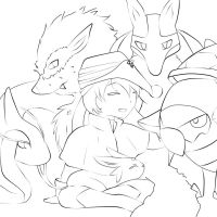 Commission - Phantom and his pokemon team by OriChes
