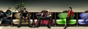 Resident Evil and DMC Sitting Characters by FansteRambo