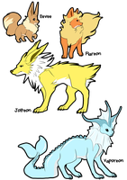 Eevee and 1st gen Eons by LeeLeeMoreau