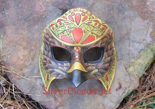 Belly Dance Eagle Leather Mask in Gold and Red by SilverCicada