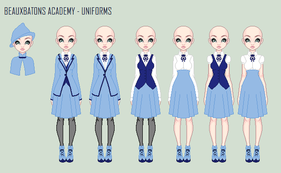 Beauxbatons' uniforms by OrangePinkRose