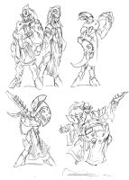 Dark Eldar Sketches by NachoMon