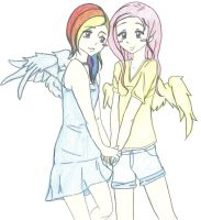 Rainbow Dash and Flutter Shy by iliowahine