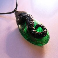 Tentacled Emerald Necklace by CthulhuJewellery