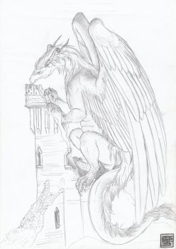 Elder wyrm on the tower by cyaziris
