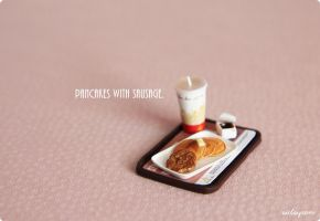Miniature hotcakes with sausage set. by Aiclay