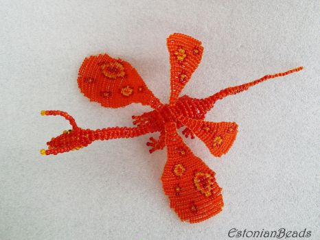 Beaded red butterflydragon up by EstonianBeads