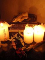buddhist candles, skulls and paper birds by leashgrey