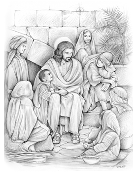 Jesus teaches the Children by gregchapin