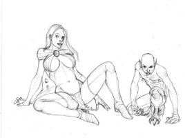 goblin queen with goblin by Selkirk