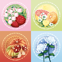 Japan Expo 2013: 4 seasons button designs by drawingum