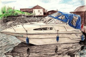Boat Drawing by Galbatore