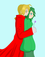 Edward and Rose with a rose by JouYasha