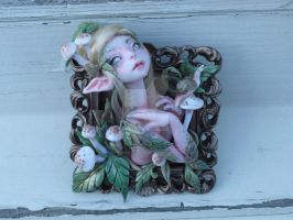Framed Polymer Clay Mushroom Myxie by MysticReflections