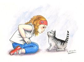 girl and cat by BIuntness
