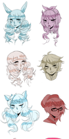 Gaia Freebs: Sketchy Headshots by teasomething