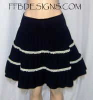 Black skirt with yellow lace by funkyfunnybone