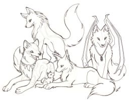 Wolf Pack -Line and Sketch by Halo-2-fan