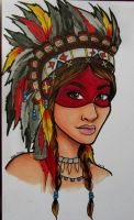 Indian Girl tattoo design by sinkholes666