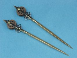 Steam punk brass hair sticks by Licataknives
