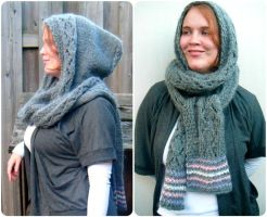 Handknit hooded Scarf, Scoodie by PolClary