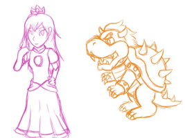Peach and Bowser practice by desiquiche