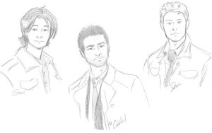 Sam Dean and Castiel by whisperelmwood