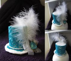 White and turquoise mini top hat by MelissaRTurner