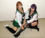 Rei and Saeko by RoxiiCosplay