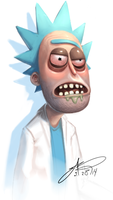 Rick's sick with the bottle flu by SHARK-E