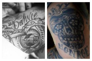 Jayy and Dahvie's tattoo's of eachothers names by princessofthedaaark
